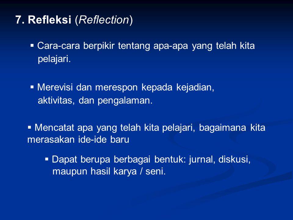 7.Refleksi (Reflection)  Cara-cara berpikir tentang apa-apa yang telah kita pelajari.