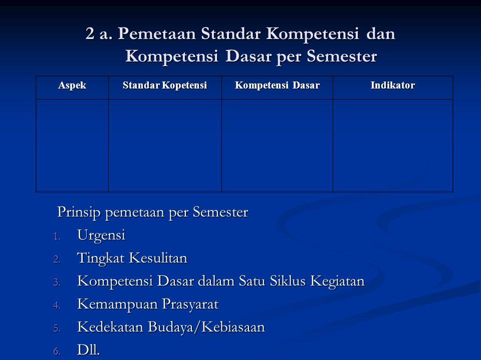 2 a.Pemetaan Standar Kompetensi dan Kompetensi Dasar per Semester Prinsip pemetaan per Semester 1.