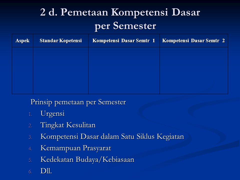 2 d.Pemetaan Kompetensi Dasar per Semester Prinsip pemetaan per Semester 1.