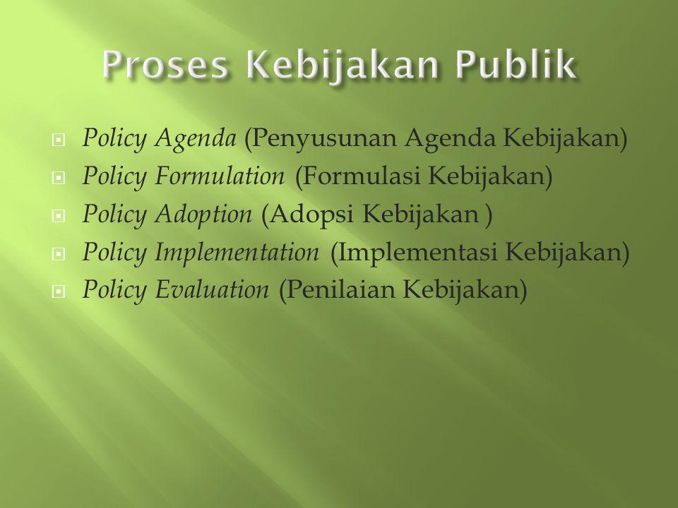  Policy Agenda (Penyusunan Agenda Kebijakan)  Policy Formulation (Formulasi Kebijakan)  Policy Adoption (Adopsi Kebijakan )  Policy Implementation (Implementasi Kebijakan)  Policy Evaluation (Penilaian Kebijakan)