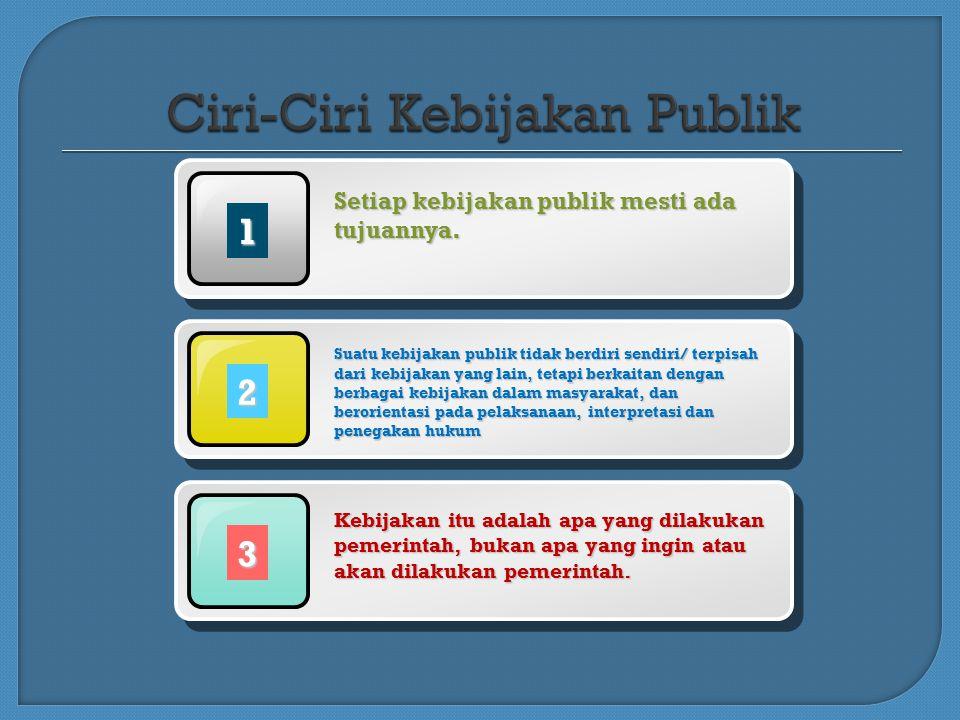 1 Setiap kebijakan publik mesti ada tujuannya.