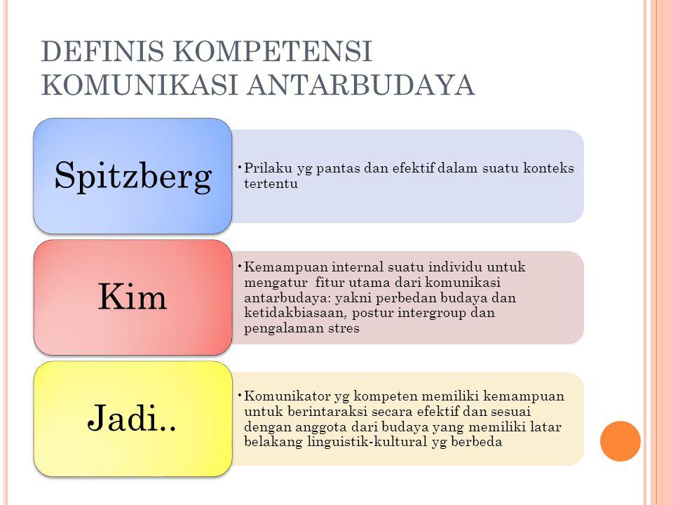 DEFINIS KOMPETENSI KOMUNIKASI ANTARBUDAYA Prilaku yg pantas dan efektif dalam suatu konteks tertentu Spitzberg Kemampuan internal suatu individu untuk