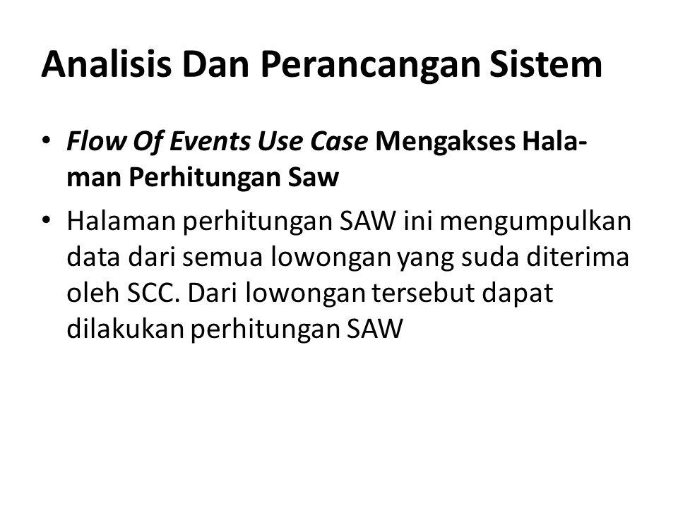 Analisis Dan Perancangan Sistem Flow Of Events Use Case Mengakses Hala- man Perhitungan Saw Halaman perhitungan SAW ini mengumpulkan data dari semua l