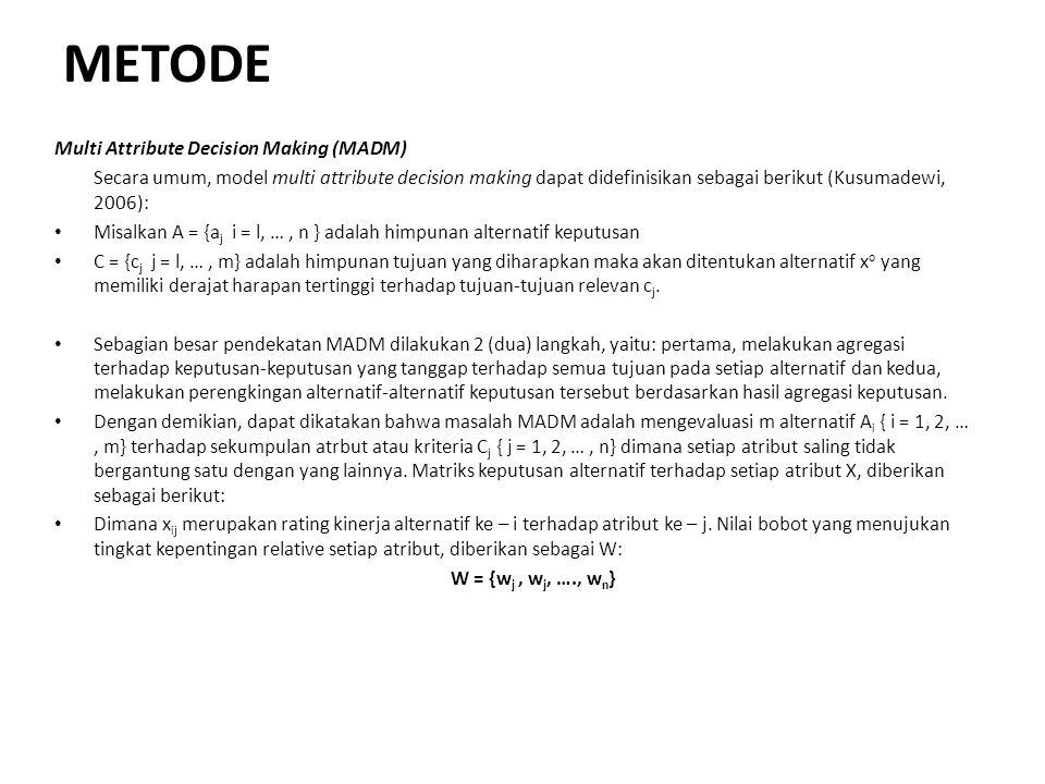 METODE Multi Attribute Decision Making (MADM) Secara umum, model multi attribute decision making dapat didefinisikan sebagai berikut (Kusumadewi, 2006