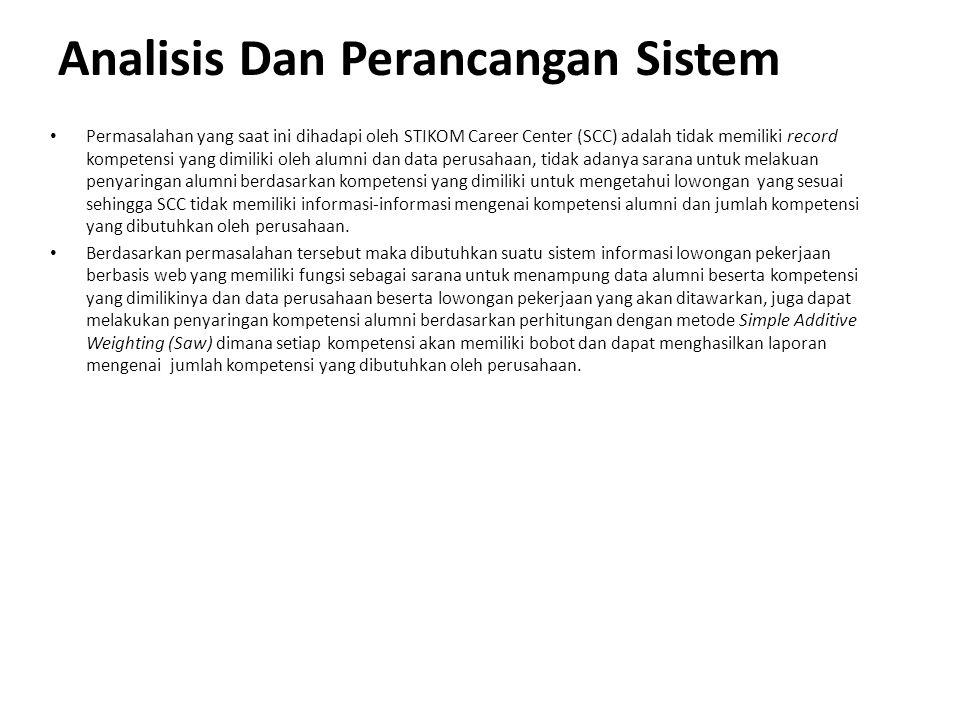 Analisis Dan Perancangan Sistem Permasalahan yang saat ini dihadapi oleh STIKOM Career Center (SCC) adalah tidak memiliki record kompetensi yang dimil
