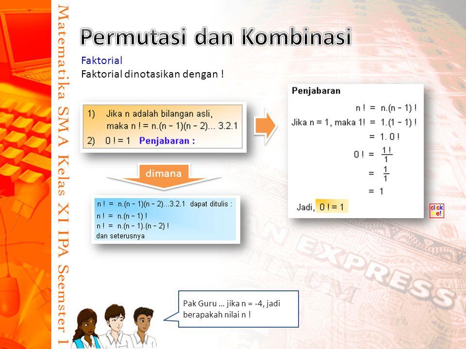 Faktorial Faktorial dinotasikan dengan ! dimana Pak Guru … jika n = -4, jadi berapakah nilai n !