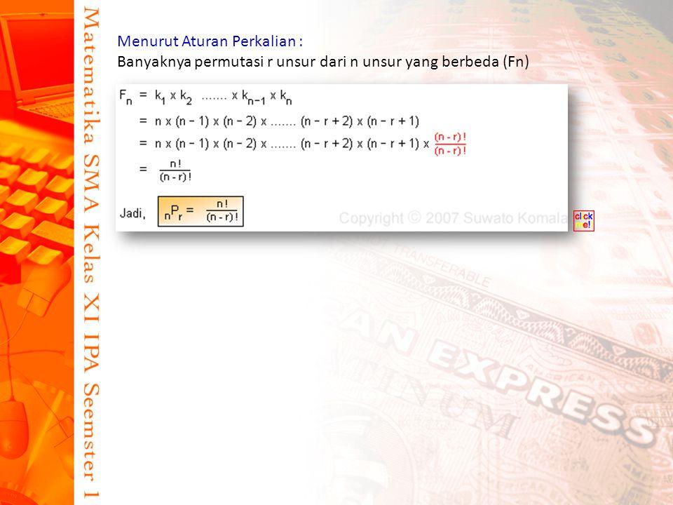 Menurut Aturan Perkalian : Banyaknya permutasi r unsur dari n unsur yang berbeda (Fn)