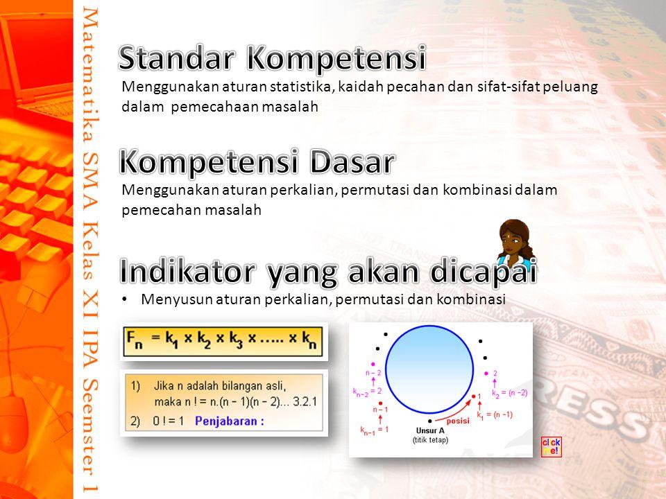 Menggunakan aturan statistika, kaidah pecahan dan sifat-sifat peluang dalam pemecahaan masalah Menggunakan aturan perkalian, permutasi dan kombinasi dalam pemecahan masalah Menyusun aturan perkalian, permutasi dan kombinasi