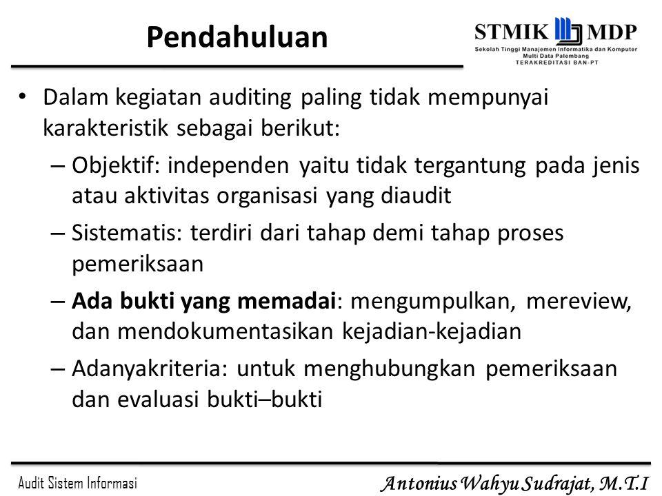 Audit Sistem Informasi Antonius Wahyu Sudrajat, M.T.I Pendahuluan Dalam kegiatan auditing paling tidak mempunyai karakteristik sebagai berikut: – Obje