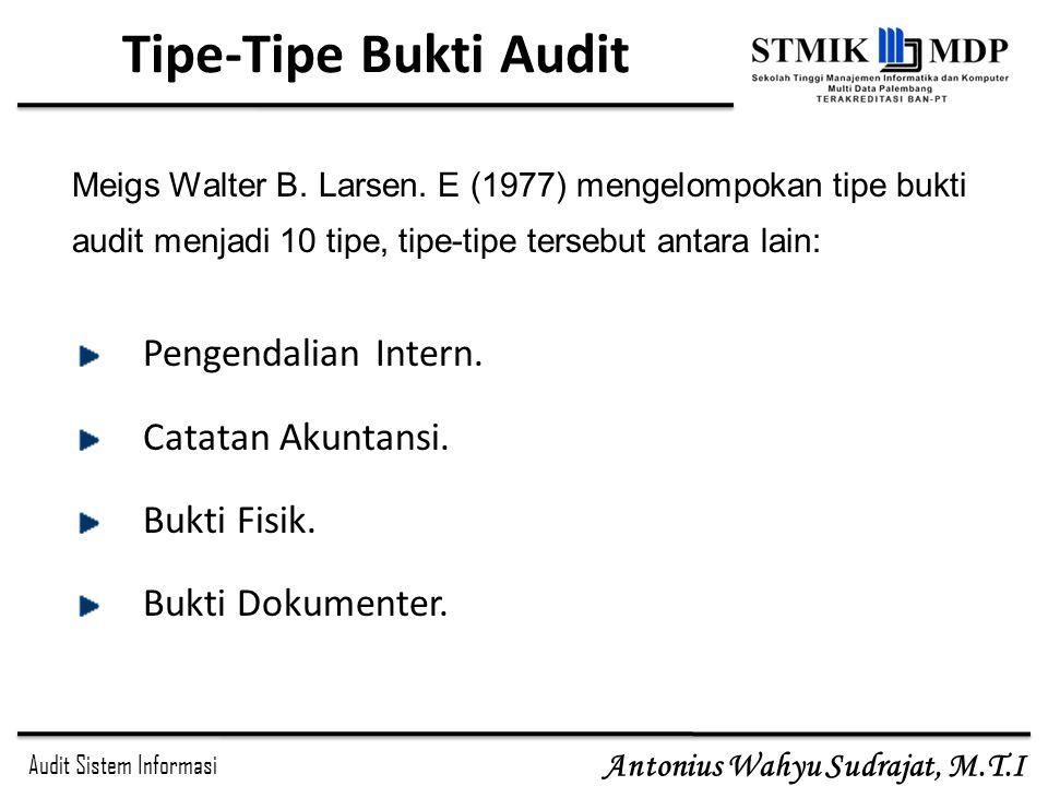 Audit Sistem Informasi Antonius Wahyu Sudrajat, M.T.I Tipe-Tipe Bukti Audit Pengendalian Intern. Catatan Akuntansi. Bukti Fisik. Bukti Dokumenter. Mei