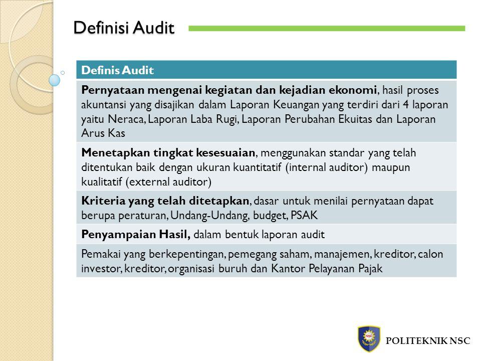 Perbedaan Akuntansi vs Audit POLITEKNIK NSC Tujuan Pencatatan, pengklasifikasian dan peringkasan kejadian ekonomi yang terjadi untuk tujuan menyediakan informasi keuangan yang digunakan dalam pengambilan keputusan Akuntansi Menentukan apakah informasi yang dicatat dengan benar mencerminkan peristiwa ekonomi yang terjadi selama periode akuntansi Audit