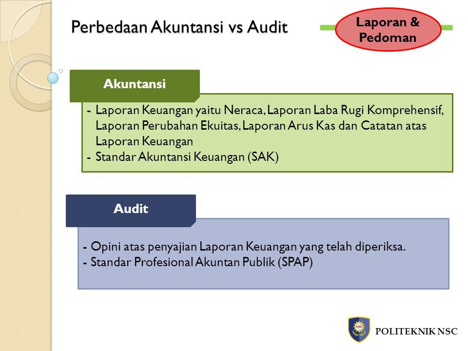Tujuan dan Jenis Audit POLITEKNIK NSC Jenis Audit Dilakukan oleh auditor independen Menilai kewajaran LK sesuai SAK Hasil : Laporan Audit Audit Laporan Keuangan Audit sesuai dengan kondisi/peraturan tertentu Laporan ditujukan kepada yang membuat peraturan Dilakukan oleh auditor independen / auditor pemerintah / auditor internal Audit Kepatuhan Mengevaluasi kinerja dan rekomendasi untuk perbaikan/tindak lanjut Diperlukan oleh management Audit Operasional