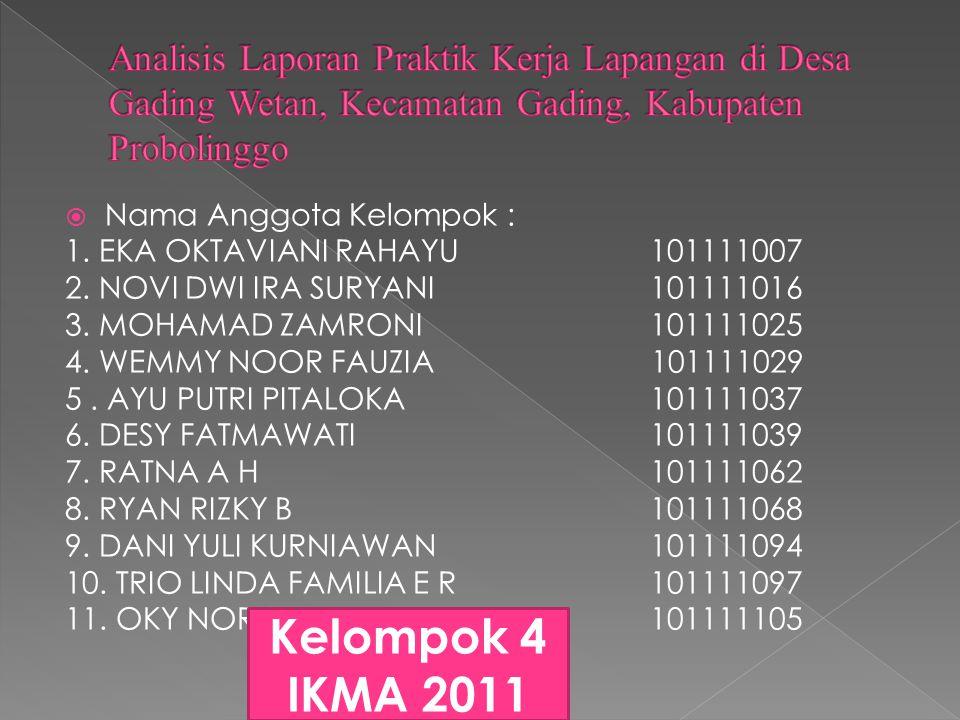  Nama Anggota Kelompok : 1. EKA OKTAVIANI RAHAYU 101111007 2.