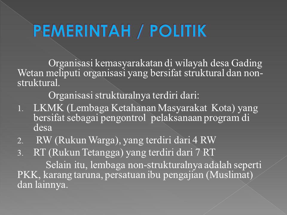 Organisasi kemasyarakatan di wilayah desa Gading Wetan meliputi organisasi yang bersifat struktural dan non- struktural. Organisasi strukturalnya terd
