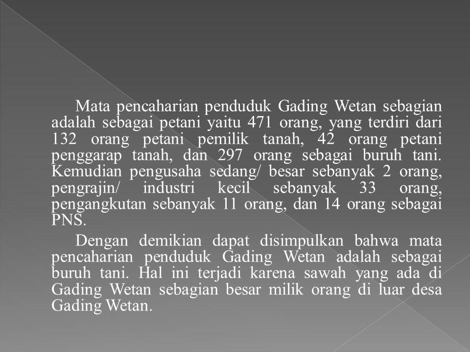 Mata pencaharian penduduk Gading Wetan sebagian adalah sebagai petani yaitu 471 orang, yang terdiri dari 132 orang petani pemilik tanah, 42 orang peta