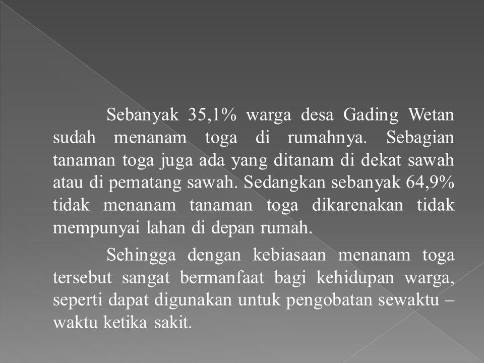 Sebanyak 35,1% warga desa Gading Wetan sudah menanam toga di rumahnya. Sebagian tanaman toga juga ada yang ditanam di dekat sawah atau di pematang saw