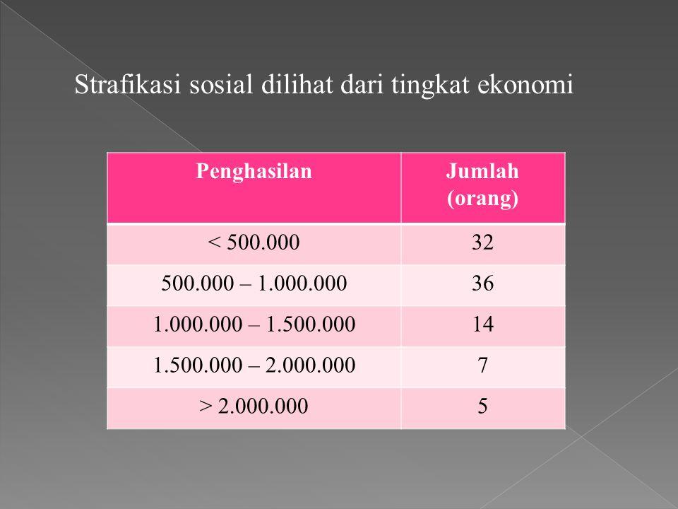 Strafikasi sosial dilihat dari tingkat ekonomi PenghasilanJumlah (orang) < 500.00032 500.000 – 1.000.00036 1.000.000 – 1.500.00014 1.500.000 – 2.000.0007 > 2.000.0005