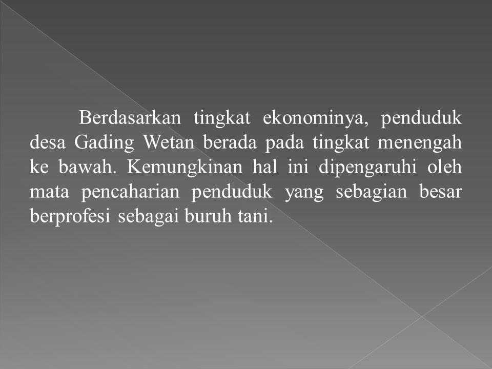 Berdasarkan tingkat ekonominya, penduduk desa Gading Wetan berada pada tingkat menengah ke bawah. Kemungkinan hal ini dipengaruhi oleh mata pencaharia