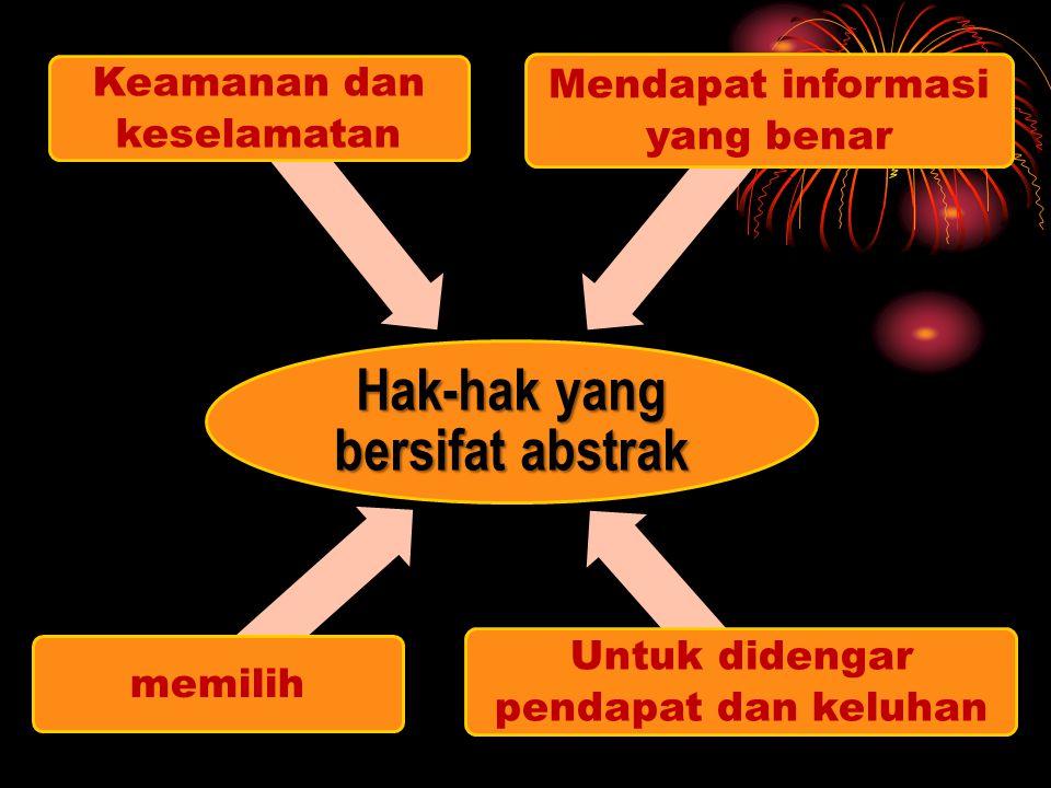 Hak-hak yang bersifat abstrak memilih Keamanan dan keselamatan Mendapat informasi yang benar Untuk didengar pendapat dan keluhan