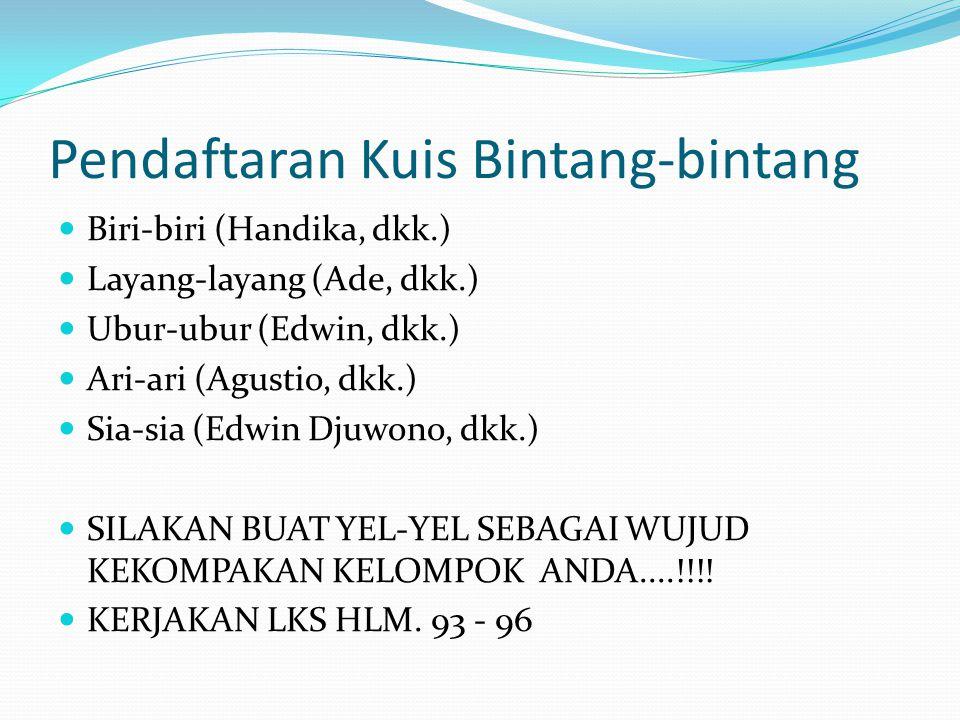 Pendaftaran Kuis Bintang-bintang Biri-biri (Handika, dkk.) Layang-layang (Ade, dkk.) Ubur-ubur (Edwin, dkk.) Ari-ari (Agustio, dkk.) Sia-sia (Edwin Dj
