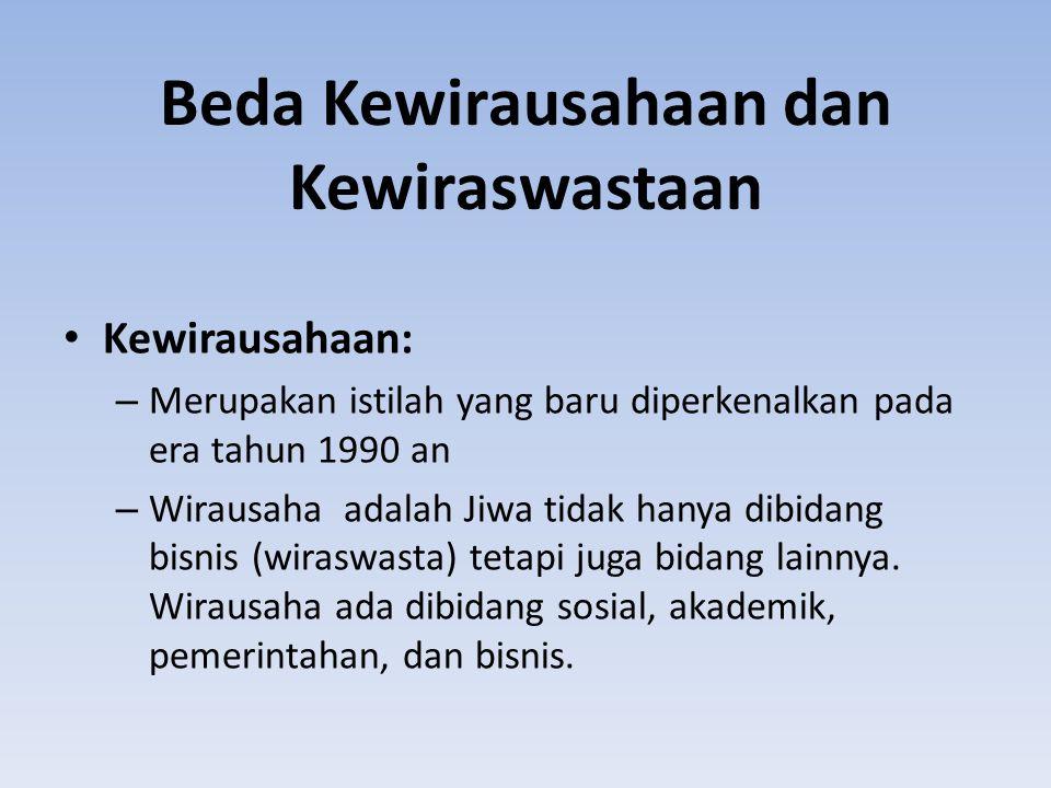 Beda Kewirausahaan dan Kewiraswastaan Kewirausahaan: – Merupakan istilah yang baru diperkenalkan pada era tahun 1990 an – Wirausaha adalah Jiwa tidak hanya dibidang bisnis (wiraswasta) tetapi juga bidang lainnya.