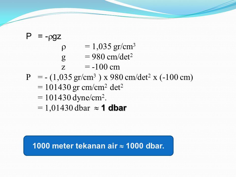 P = -  gz  = 1,035 gr/cm 3 g = 980 cm/det 2 z = -100 cm P = - (1,035 gr/cm 3 ) x 980 cm/det 2 x (-100 cm) = 101430 gr cm/cm 2 det 2 = 101430 dyne/cm