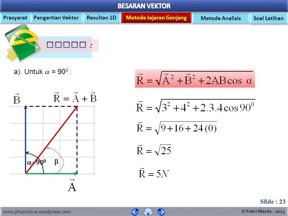 www.physicslive.wordpress.com © Febri Masda - 2013 Prasyarat Pengertian Vektor Metode Jajaran Genjang Resultan 1D Metode Analisis Soal Latihan Dua buah vektor A dan B, masing-masing besarnya 3 Newton dan 4 Newton.
