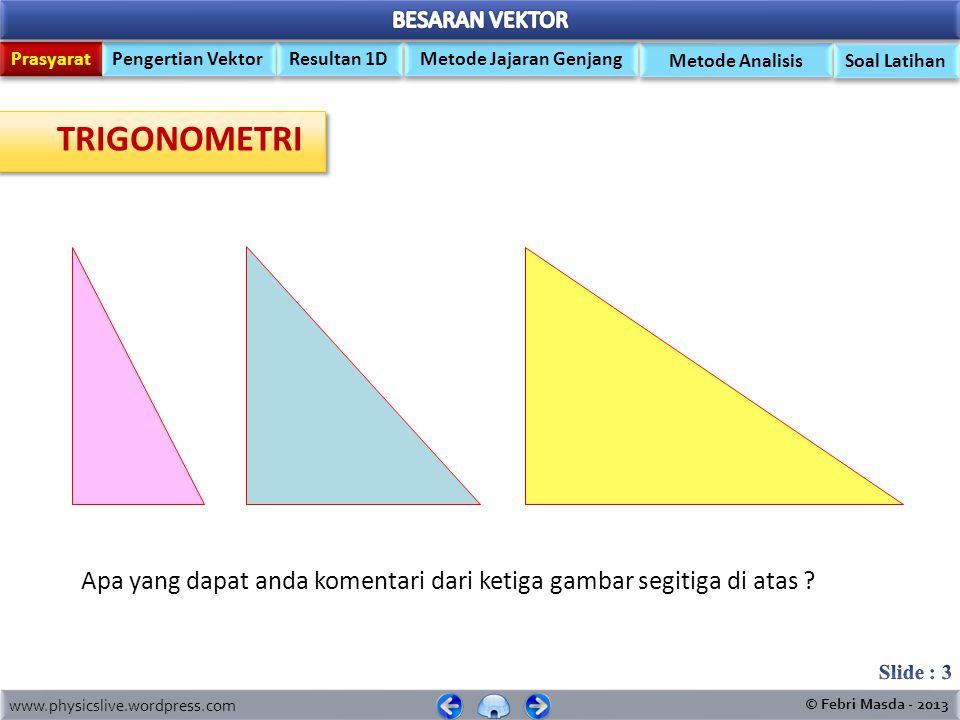 MEDIA PEMBELAJARAN FISIKA KELAS X.MIPA ` ` Trigonometri (Prasyarat) Trigonometri (Prasyarat) Pengertian Vektor Cara Melukis Vektor Resultan vektor 2 D