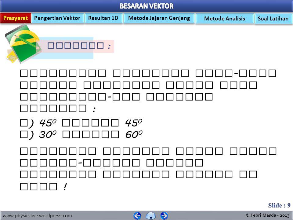 Prasyarat Pengertian Vektor Metode Jajaran Genjang Resultan 1D Metode Analisis www.physicslive.wordpress.com © Febri Masda - 2013 Soal Latihan 8 6 α  sudutsincostanBesar Sudut  0,60,83/4 37 0  0,80,64/3 53 0  +  = 37 0 + 53 0 = 90 0 10