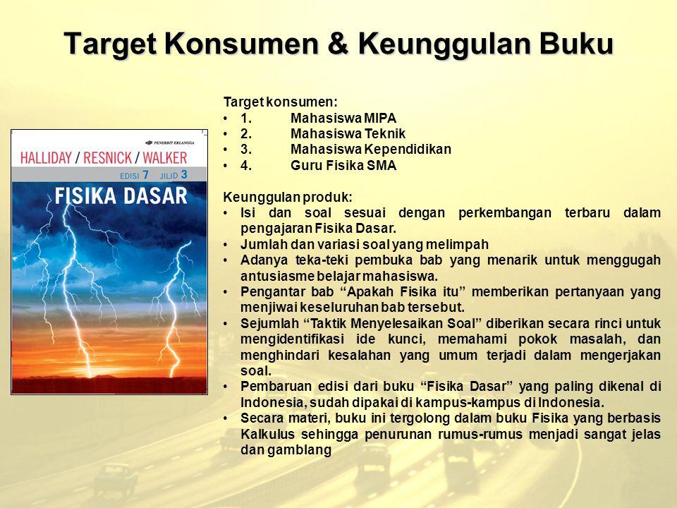 Target Konsumen & Keunggulan Buku Target konsumen: 1.Mahasiswa MIPA 2.Mahasiswa Teknik 3.Mahasiswa Kependidikan 4.Guru Fisika SMA Keunggulan produk: I