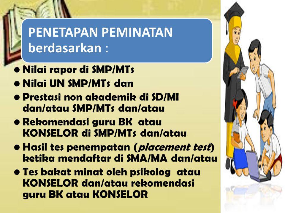 PENETAPAN PEMINATAN berdasarkan : Nilai rapor di SMP/MTs Nilai UN SMP/MTs dan Prestasi non akademik di SD/MI dan/atau SMP/MTs dan/atau Rekomendasi gur