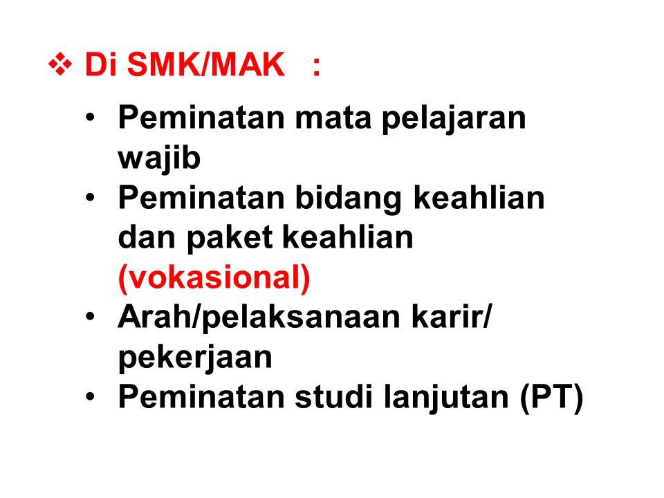  Di SMK/MAK: Peminatan mata pelajaran wajib Peminatan bidang keahlian dan paket keahlian (vokasional) Arah/pelaksanaan karir/ pekerjaan Peminatan stu