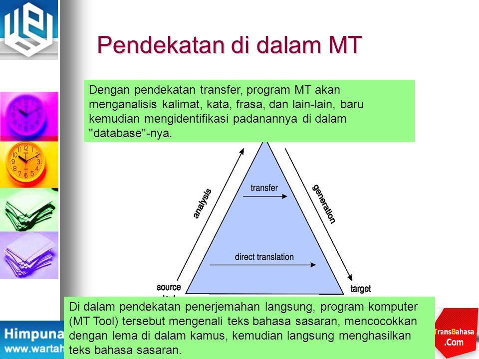 Pendekatan di dalam MT Di dalam pendekatan penerjemahan langsung, program komputer (MT Tool) tersebut mengenali teks bahasa sasaran, mencocokkan denga