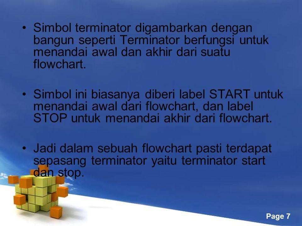 Free Powerpoint Templates Page 7 Simbol terminator digambarkan dengan bangun seperti Terminator berfungsi untuk menandai awal dan akhir dari suatu flo