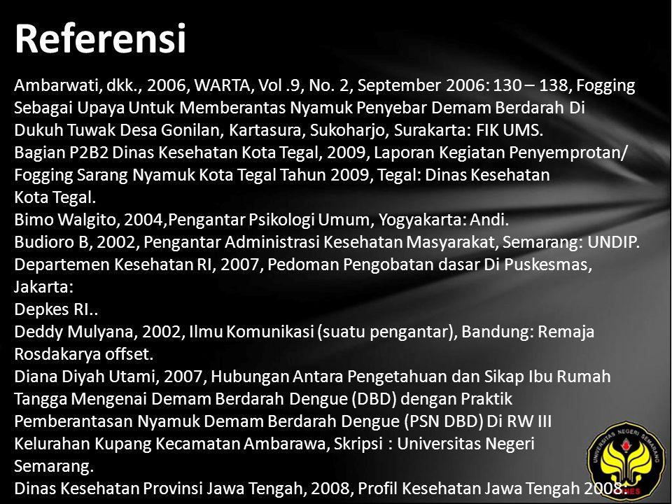 Referensi Ambarwati, dkk., 2006, WARTA, Vol.9, No.