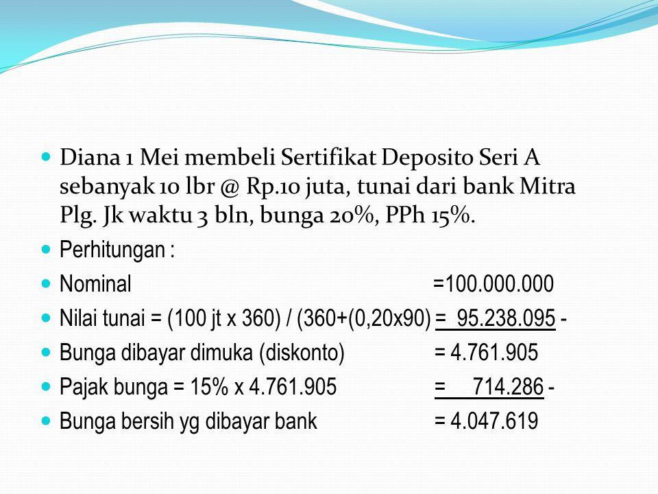 Diana 1 Mei membeli Sertifikat Deposito Seri A sebanyak 10 lbr @ Rp.10 juta, tunai dari bank Mitra Plg. Jk waktu 3 bln, bunga 20%, PPh 15%. Perhitunga