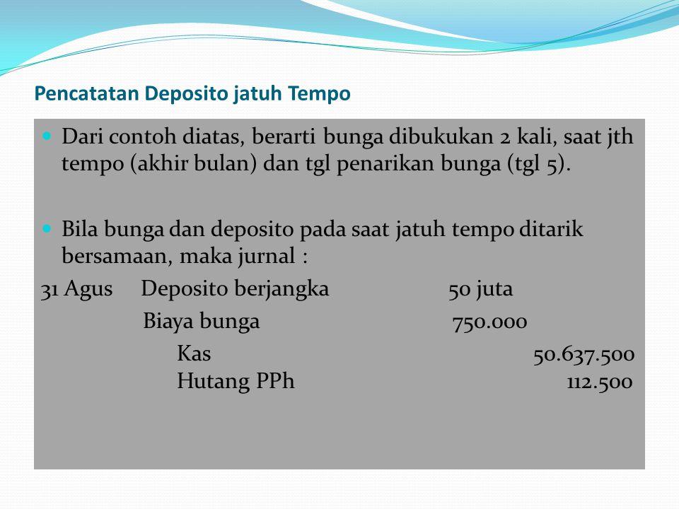 Diana 1 Mei membeli Sertifikat Deposito Seri A sebanyak 10 lbr @ Rp.10 juta, tunai dari bank Mitra Plg.