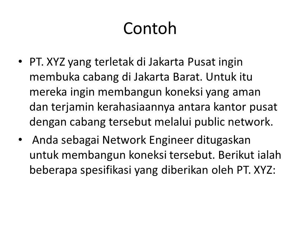 Contoh PT. XYZ yang terletak di Jakarta Pusat ingin membuka cabang di Jakarta Barat. Untuk itu mereka ingin membangun koneksi yang aman dan terjamin k