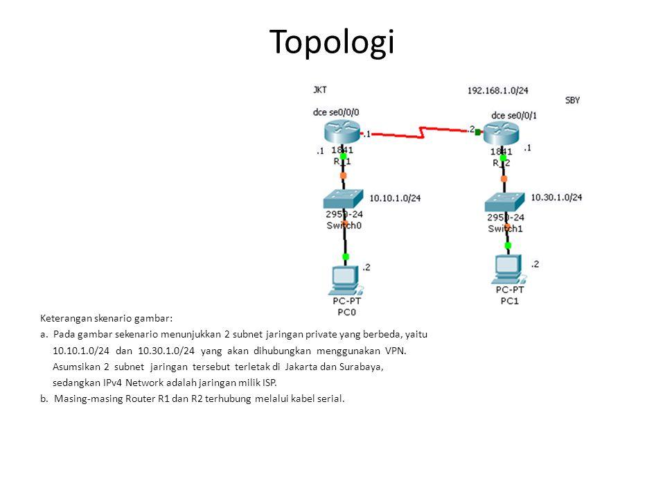 Topologi Keterangan skenario gambar: a. Pada gambar sekenario menunjukkan 2 subnet jaringan private yang berbeda, yaitu 10.10.1.0/24 dan 10.30.1.0/24