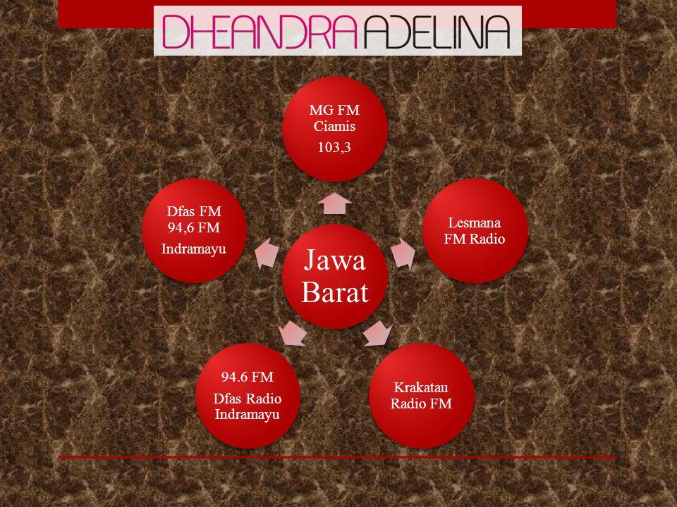 Jawa Barat MG FM Ciamis 103,3 Lesmana FM Radio Krakatau Radio FM 94.6 FM Dfas Radio Indramayu Dfas FM 94,6 FM Indramayu