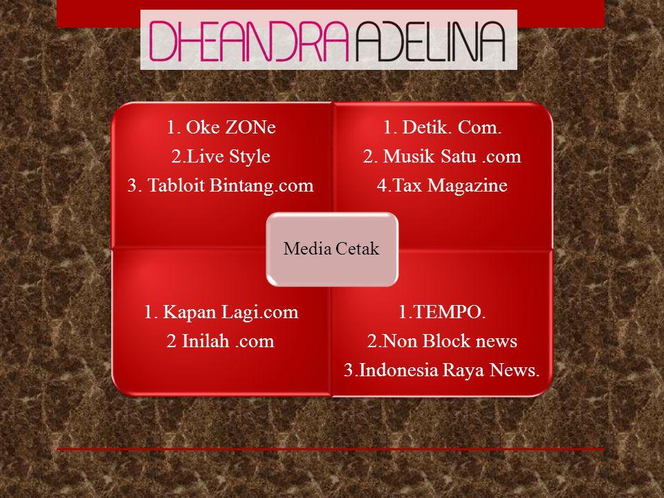 1. Oke ZONe 2.Live Style 3. Tabloit Bintang.com 1. Detik. Com. 2. Musik Satu.com 4.Tax Magazine 1. Kapan Lagi.com 2 Inilah.com 1.TEMPO. 2.Non Block ne
