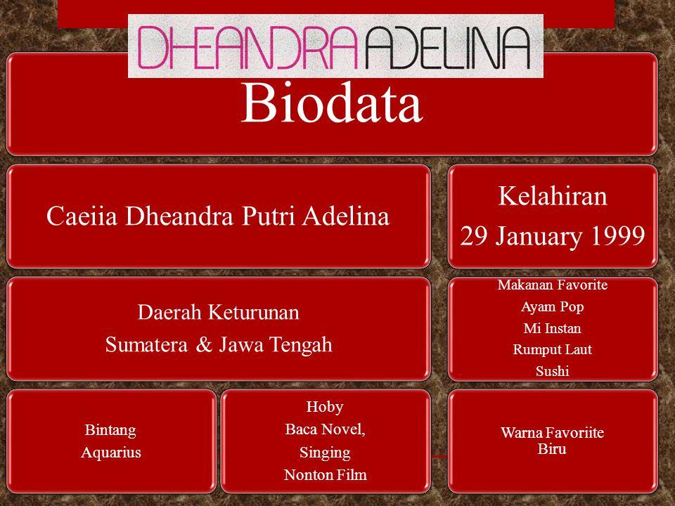 Biodata Caeiia Dheandra Putri Adelina Daerah Keturunan Sumatera & Jawa Tengah Bintang Aquarius Hoby Baca Novel, Singing Nonton Film Kelahiran 29 Janua