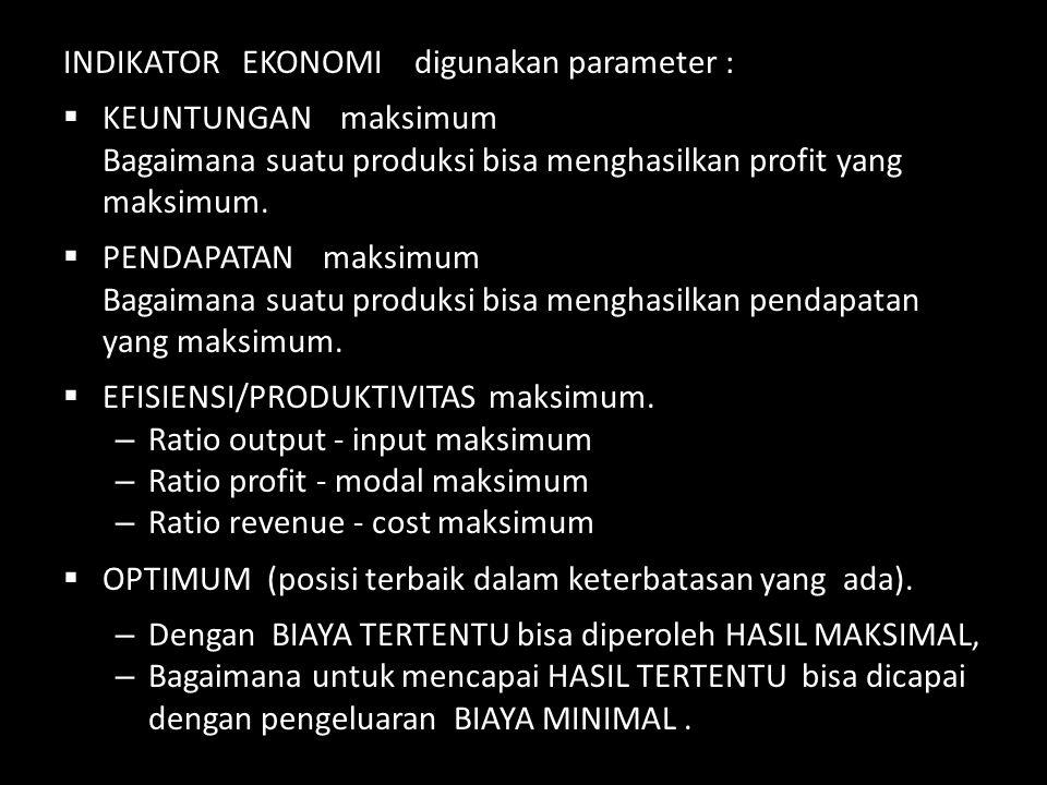 INDIKATOR EKONOMI digunakan parameter :  KEUNTUNGAN maksimum Bagaimana suatu produksi bisa menghasilkan profit yang maksimum.  PENDAPATAN maksimum B