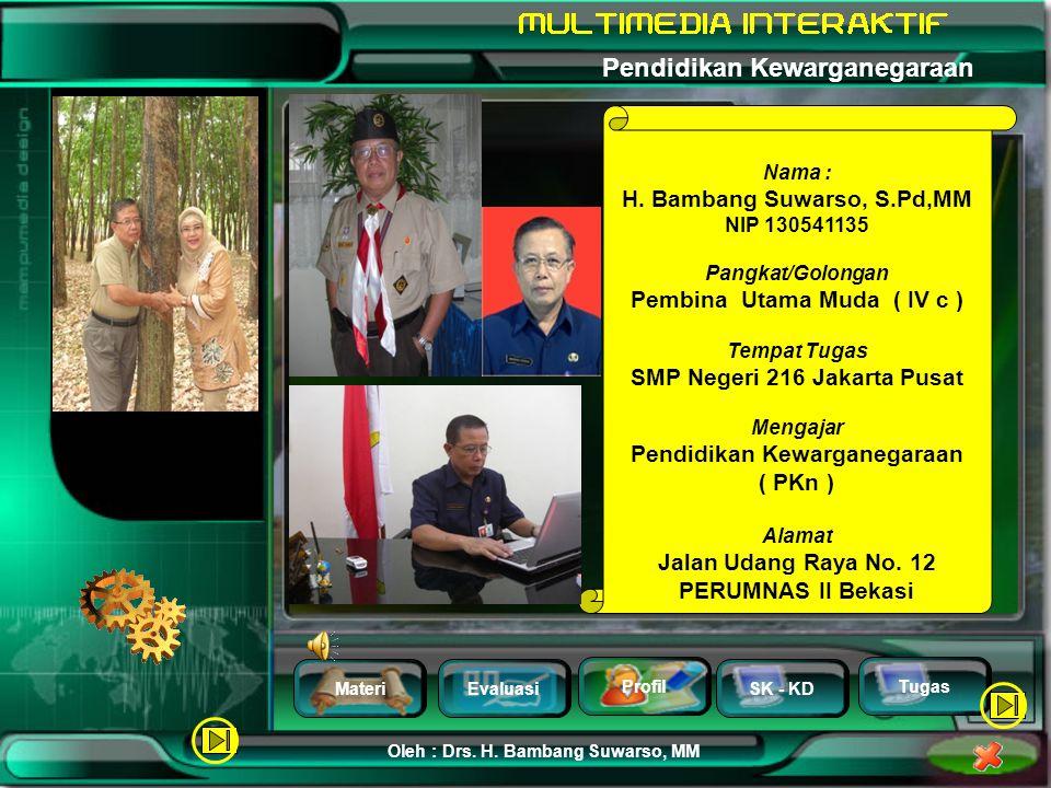 MateriEvaluasi Profil SK - KD Oleh : Drs. H. Bambang Suwarso, MM Pendidikan Kewarganegaraan Tugas Jawaban Anda ? Ya……Anda tidak beruntung, salah tuh !