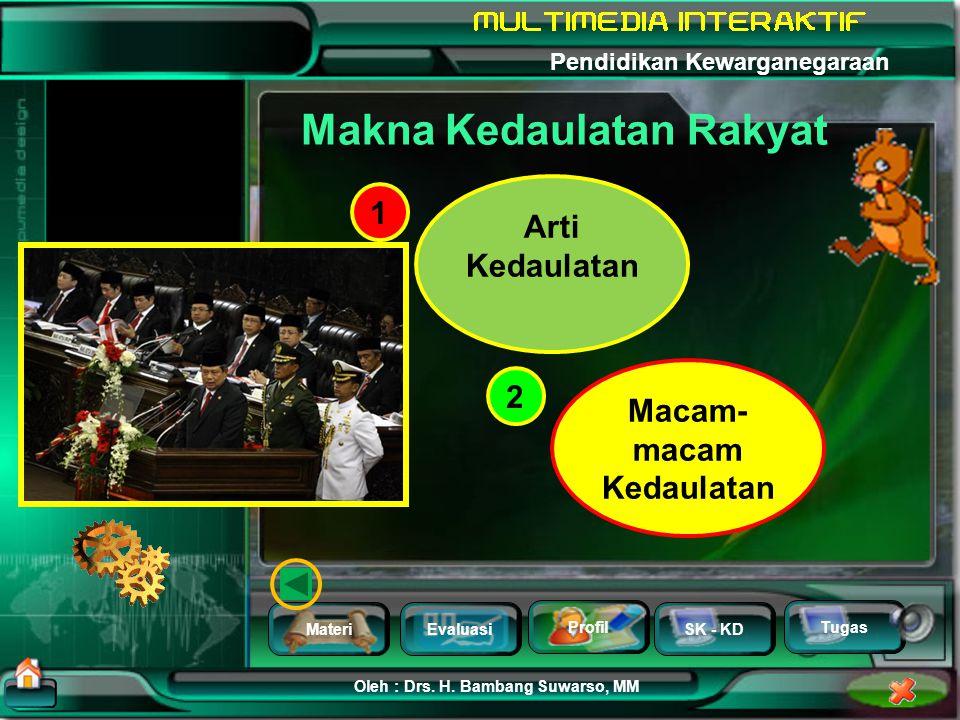 MateriEvaluasi Profil SK - KD Oleh : Drs. H. Bambang Suwarso, MM Pendidikan Kewarganegaraan Tugas KEDAULATAN RAKYAT Refleksi Makna Kedaulatan Teori Ke