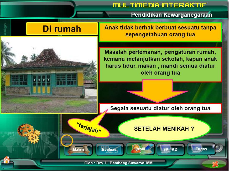 MateriEvaluasi Profil SK - KD Oleh : Drs. H. Bambang Suwarso, MM Pendidikan Kewarganegaraan Tugas Hak mengatur rumah tangga sendiri NEGARA = RUMAHTANG