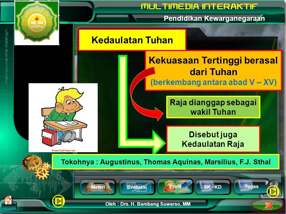MateriEvaluasi Profil SK - KD Oleh : Drs. H. Bambang Suwarso, MM Pendidikan Kewarganegaraan Tugas Kedaulatan Tuhan Kedaulatan Negara Kedaulatan Hukum