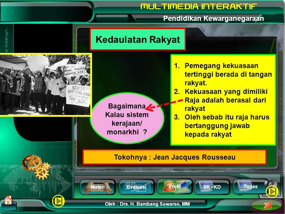MateriEvaluasi Profil SK - KD Oleh : Drs. H. Bambang Suwarso, MM Pendidikan Kewarganegaraan Tugas Tokoh Teori Kedaulatan Tuhan : Imanuel Kant