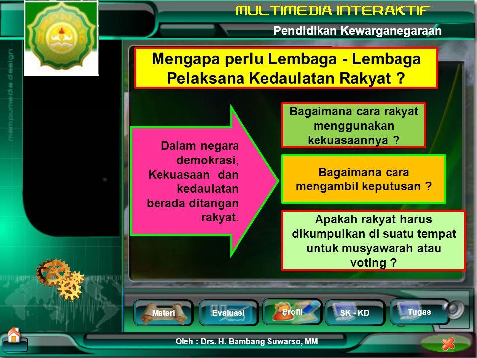 MateriEvaluasi Profil SK - KD Oleh : Drs. H. Bambang Suwarso, MM Pendidikan Kewarganegaraan Tugas Lembaga - Lembaga Pelaksana Kedaulatan Rakyat Mengap
