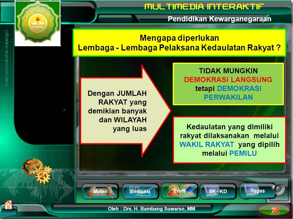 MateriEvaluasi Profil SK - KD Oleh : Drs. H. Bambang Suwarso, MM Pendidikan Kewarganegaraan Tugas Apakah rakyat harus dikumpulkan di suatu tempat untu